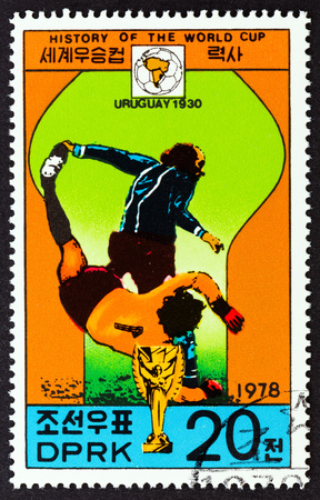 NORTH KOREA - CIRCA 1978: A stamp printed in North Korea from the History of the World Cup issue shows Uruguay, 1930, circa 1978.