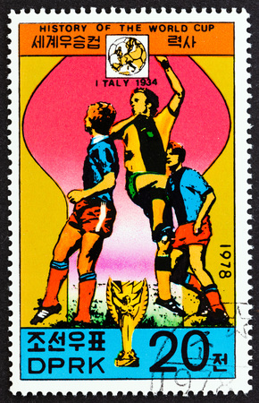 NORTH KOREA - CIRCA 1978: A stamp printed in North Korea from the History of the World Cup issue shows Italy, 1934, circa 1978.