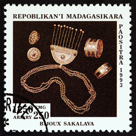 MADAGASCAR - CIRCA 1994: A stamp printed in Madagascar from the Handicraft issue shows Silver jewellery, Sakalava, circa 1994.