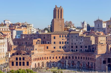 The Markets of Trajan, the Militia Tower is visible in the center, rising above the markets, Rome, Italy.
