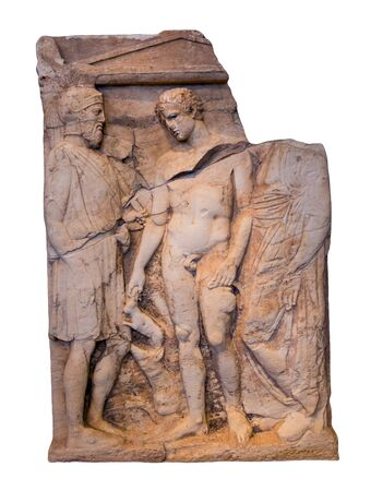Ancient Greek marble grave stele (400 BC) found in Porto Rafti, Attica. A young man accompanied by his dog holds a rabbit and a bearded warrior with an attic helmet on his head, a shield and a spear.
