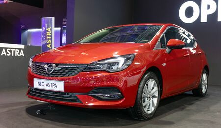 ATHENS, GREECE - NOVEMBER 15, 2019: Opel Astra K 2020 facelift at Aftokinisi Anytime 2019 Motor Show.