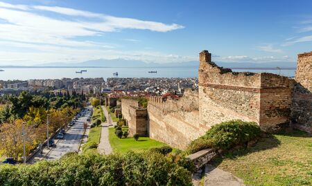 Panoramic view of Thessaloniki and the ruins of the medieval fortification, mount Olympus in the background, Macedonia, Greece.