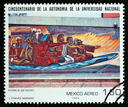 MEXICO - CIRCA 1979: A stamp printed in Mexico from the 50th Anniversary of National University's Autonomy issue shows Return of Quetzalcoatl by J. Chavez Morado, circa 1979. Editorial