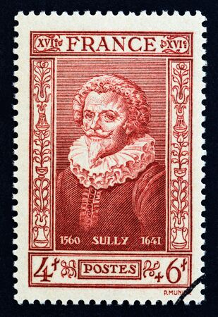 FRANCE - CIRCA 1943: A stamp printed in France from the Famous People issue shows Maximilien de Bethune, Duke of Sully, circa 1943.