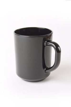 black ceramic cup of coffee and tea Stock Photo