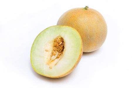 Melon honeydew and a half isolated on white background