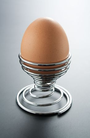 Egg placed in a metal spiral egg-holder on gray gradient background