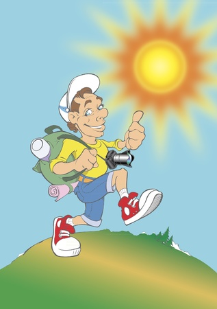 positive inspired funny character of a tourist-photographer with charming, sweet and friendly expression on sunny, cheerful background Vector