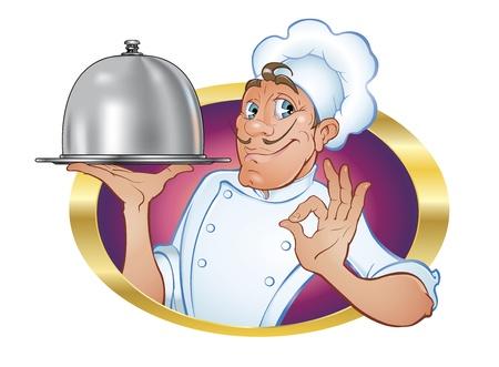 cocinero italiano: Chef.Illustration de un chef encantadora, lindo con un amistoso, participaci�n de difusi�n gesto de satisfacci�n y una bandeja