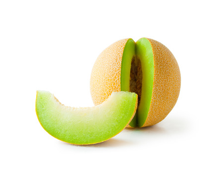 Melon honeydew. Ripe fresh melon honeydew and a slice isolated on white background