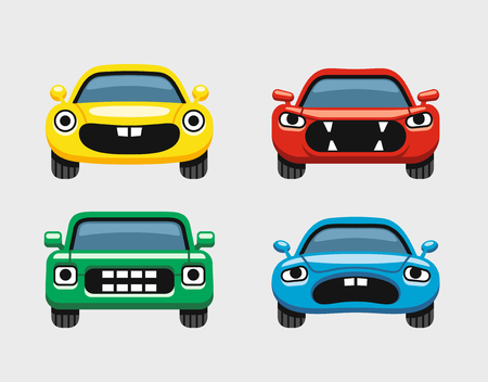 smiley face car: Car emoticon, colorful expressive funny car face character, smiles icons set