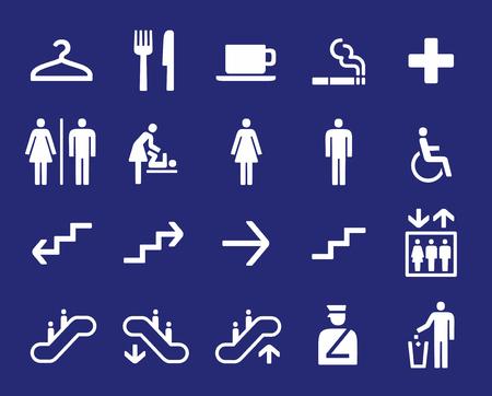 checkroom: Office navigation pictograms Illustration