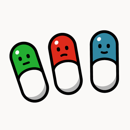 Green, red and blue pills smiling, different emotion, cartoon style vector illustration on white background.
