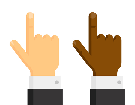 Hands with pointing finger up with black suit sleeve, vector illustration isolated on white background Illustration