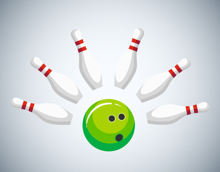 Green bowling ball crash the pins, vector illustration isolated on white background