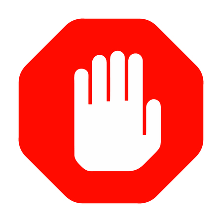 Stop hand symbol red octagonal shape, no entry sign, simple vector icon isolated on white background