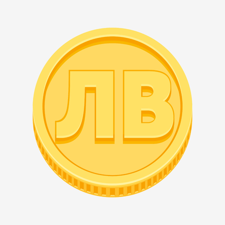 Bulgarian lev currency symbol on gold coin, money sign vector illustration isolated on white background