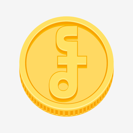Cambodian riel currency symbol on gold coin, money sign vector illustration isolated on white background Illustration