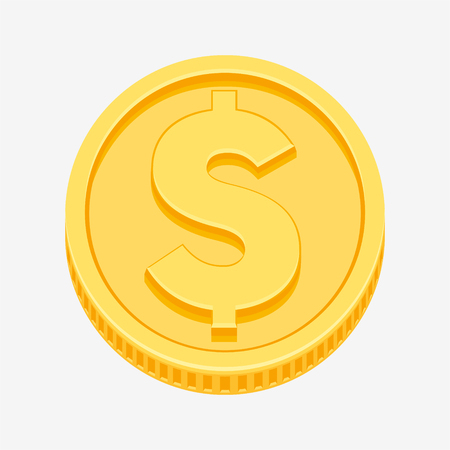 Dollar currency symbol on gold coin, money sign vector illustration isolated on white background Illusztráció