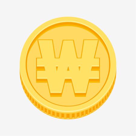 ganado: Símbolo de moneda de Corea ganó en moneda de oro Vectores