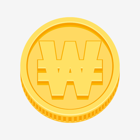 Korean won currency symbol on gold coin