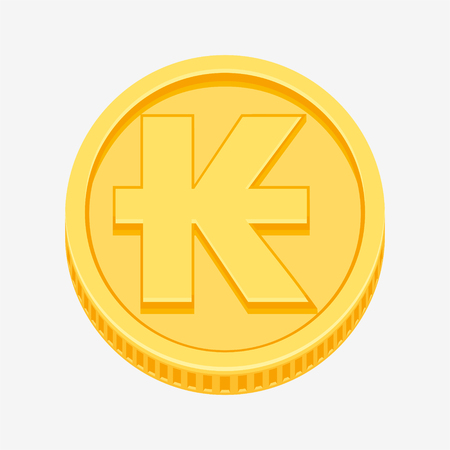 Lao kip symbol on gold coin Illustration