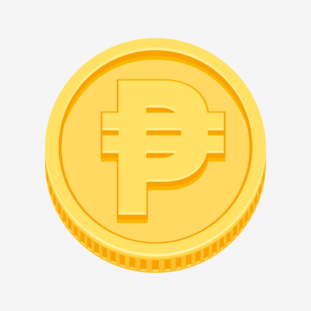 Philippine peso currency symbol on gold coin