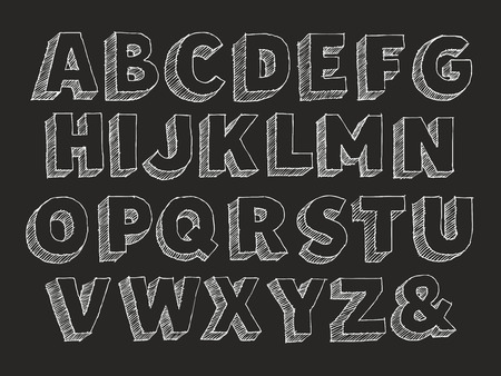 Vector hand drawn alphabet uppercase