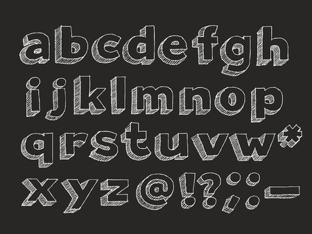 Hand drawn lower case alphabet and symbols