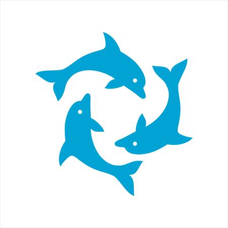 Drie dolfijnen vormen een cirkel Stock Illustratie