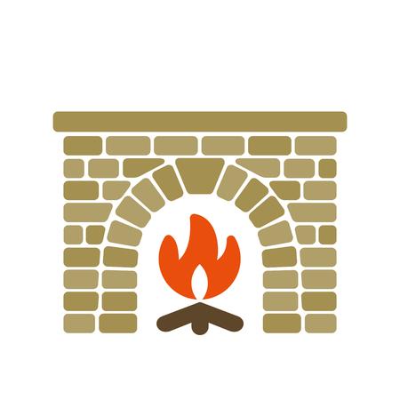 masonry: Home fireplace vector illustration