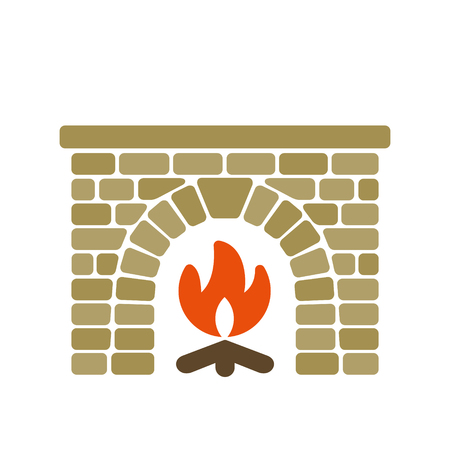 Home fireplace vector illustration