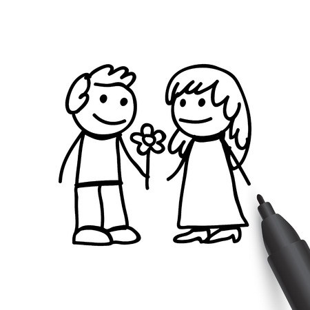 happy family: Man and woman in doodles style Illustration