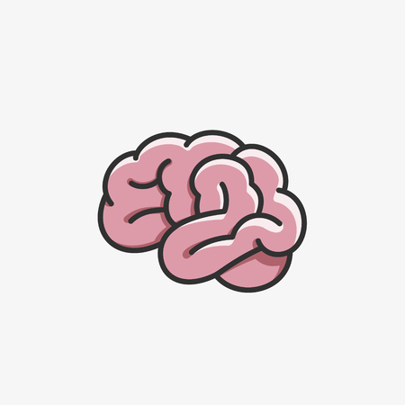 Brain icon cartoon style 向量圖像