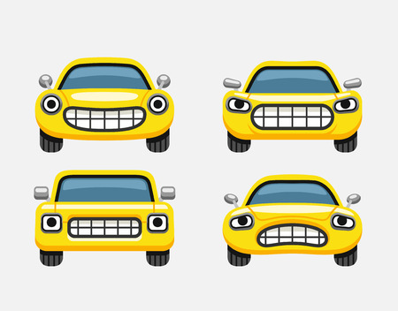 smiley face car: Car emoticon yellow smiles