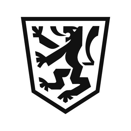 Heraldic lion on shield 版權商用圖片 - 87379916