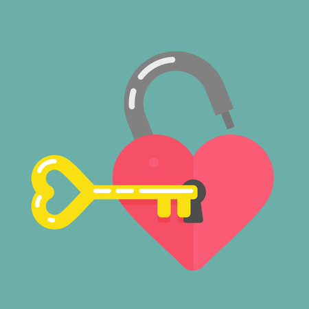 Lock and key shaped heart icon Illustration