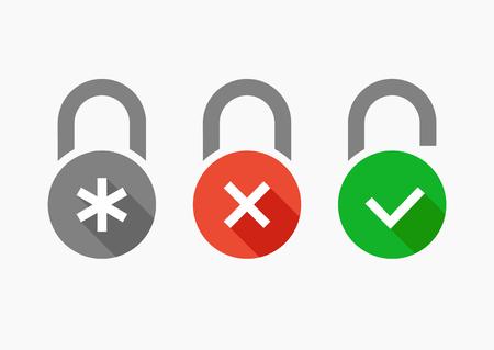 Vector icons set combination lock