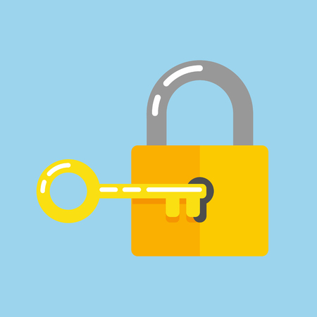 Lock with key vector illustration