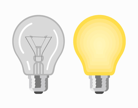 Glowing and turned off electric light bulbs, vector illustration Ilustração