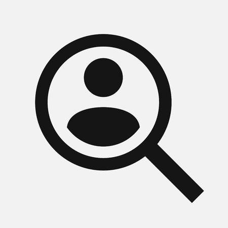 Magnifying glass looking for people icon, employee search symbol concept vector illustration