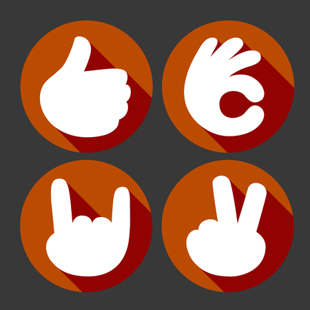 Hands gesture vector icons set, like, ok, peace and rock symbols