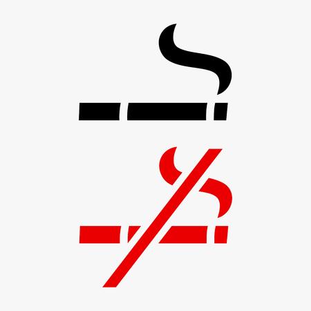 Smoking area and No smoking vector stencil sign