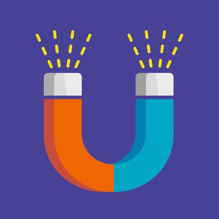 U-shaped magnet flat style vector illustration on blue background