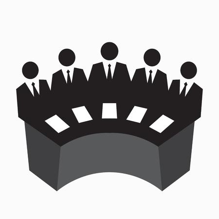 Icono de Collegium, juzgando, fila de hombre en traje en la mesa, concepto de equipo de negocios, ilustración vectorial