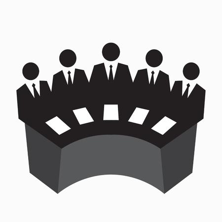 Icône de Collegium, juger, rangée d'homme en costume à la table, concept d'équipe affaires, illustration vectorielle Vecteurs