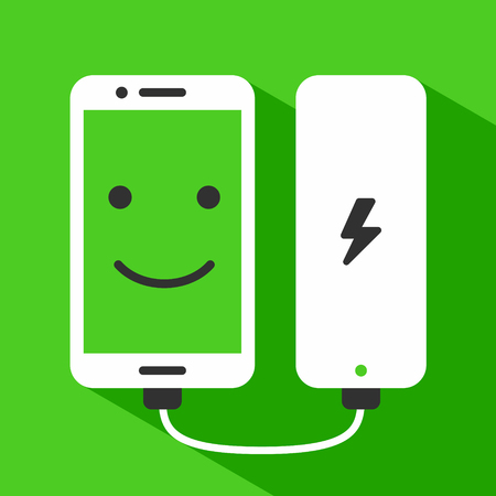 Phone with smile face charging with power bank, vector illustration Illustration