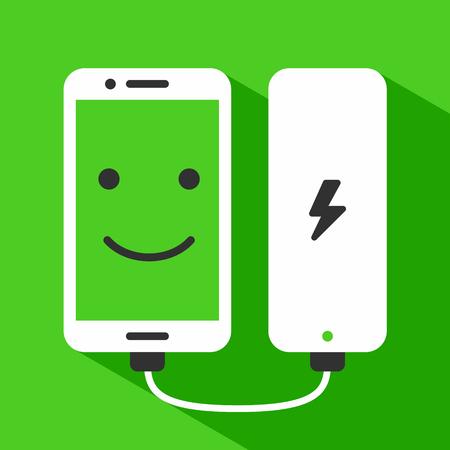 Telefoon met glimlach gezicht opladen met power bank, vectorillustratie Stock Illustratie
