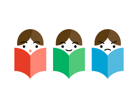 Three man reading a books with different emotions surprise, smiling face, frustration. Vector icon illustration, study, knowledge symbol, bibliophile